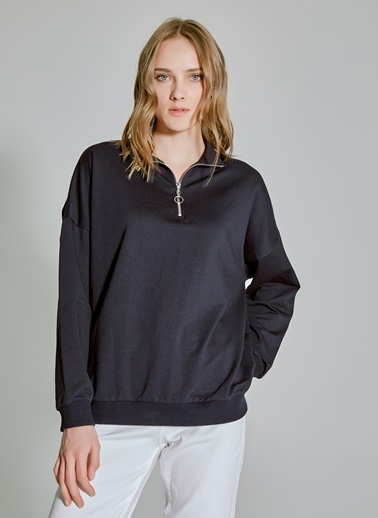 People By Fabrika Fermuarlı Sweatshirt Lacivert